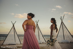 Lovely Indian bride and bridesmaid by the beach photo shoot.