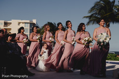 Incredible capture of Indian bridesmaids with flower girl.