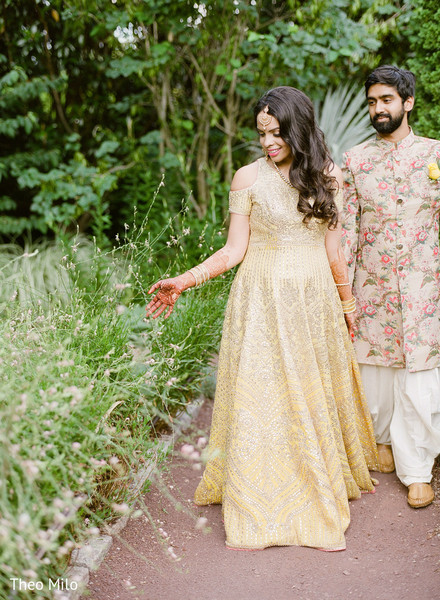 Indian bride and groom having a walk
