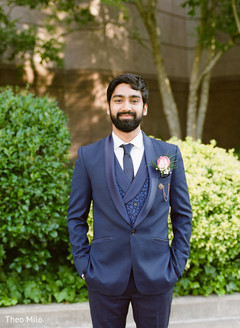 Indian groom wearing the tux