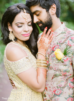 Indian bride and groom having a great time during pictures