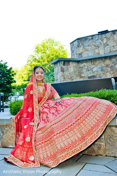 Indian bride posing for the photo shoot