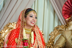 Indian bride smiling during the ceremony