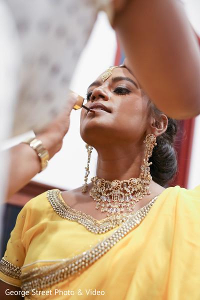 Maharani getting her makeup done