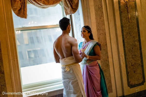 Indian bride and groom meeting prior to the wedding