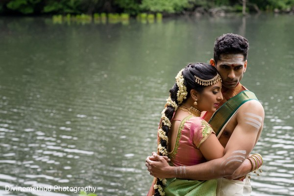 Indian bride and groom at the lake