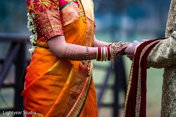 Close up capture of Indian bride and groom