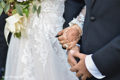 Indian bride and groom's hands closeup.