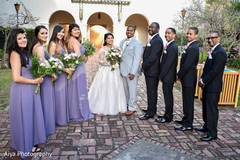 Outdoor Indian couple with bridesmaids and groomsmen photo shoot