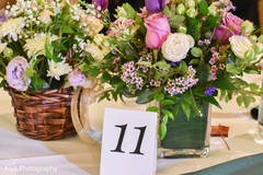 Indian wedding table number and flowers decor.