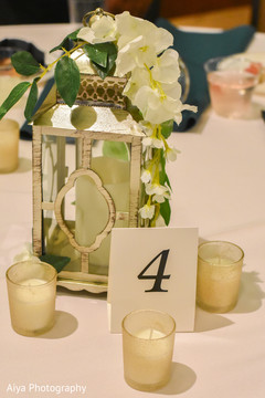 Elegant Indian wedding table decoration number.