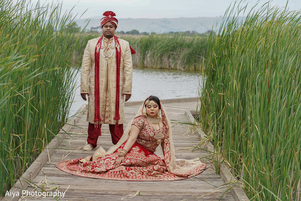 Indian bride and groom outdoors capture.