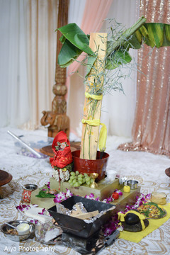 Indian wedding ceremony items.