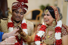 Indian couple being congratulated.