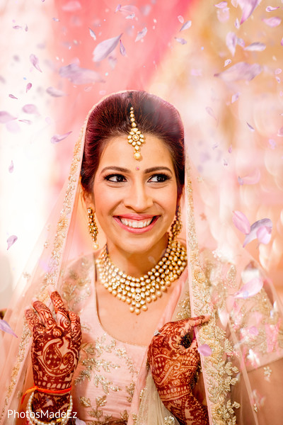 Indian bride wearing the traditional veil