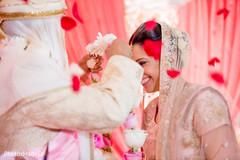 Indian bride wearing the garland