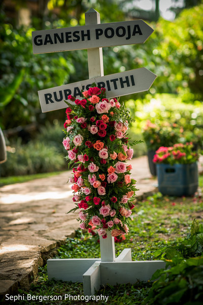 Indian pre-wedding celebration flowers decor.
