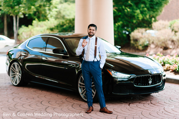 Gorgeous Indian groom outdoors capture.