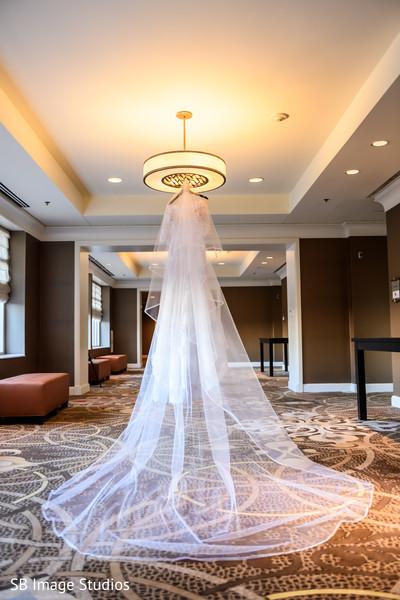 Indian bridal long white wedding veil.