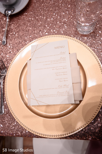 Elegant indian wedding dinner menu.