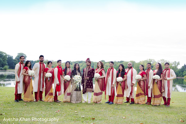 Gorgeous shot of Indian bridesmaids and groomsmen