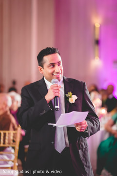 Special guest delivering a message to the newlyweds