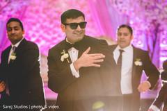 Groom performing with groomsmen