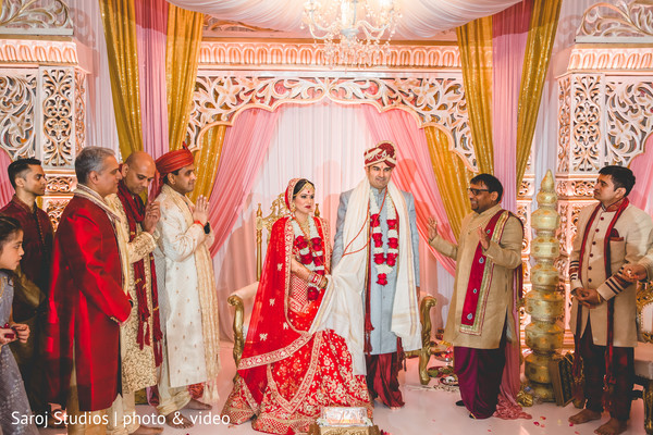 Indian bride with groom during the ceremony