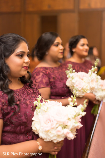 Lovely bridesmaids during the ceremony