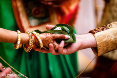 Closeup capture of Indian bride and groom holding the leaf.