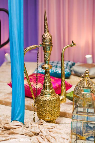 Marvelous sangeet golden jug decoration.