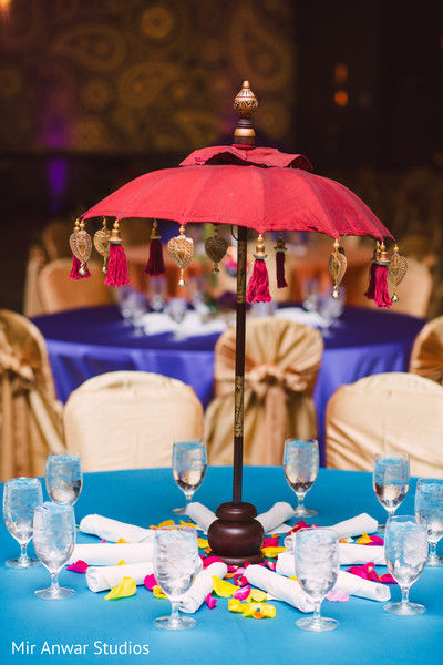 Sangeet umbrella table centerpiece decor.