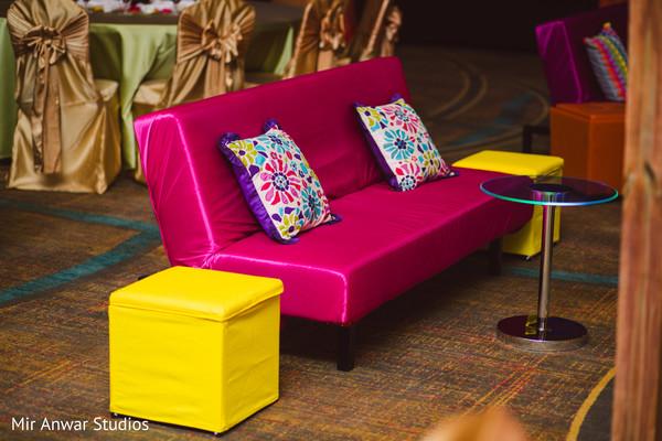 Colorful Sangeet seats setup.