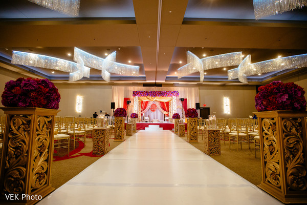 Stunning Indian wedding ceremony aisle decoration.