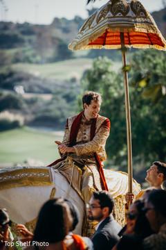 Indian groom during his baraat celebration.