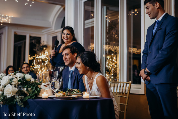 Indian couple at thier reception dinner.
