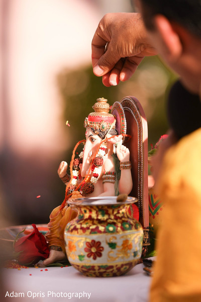 Marvelous Indian wedding God Ganesha Puja decoration.