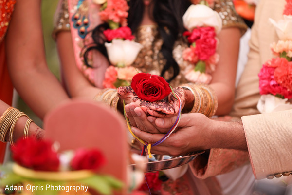 Indian couple closeup of wedding ceremony ritual.