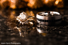 Magnificent couple's wedding rings.