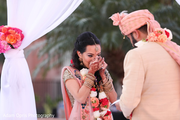 Lovely couple during ceremony rituals.