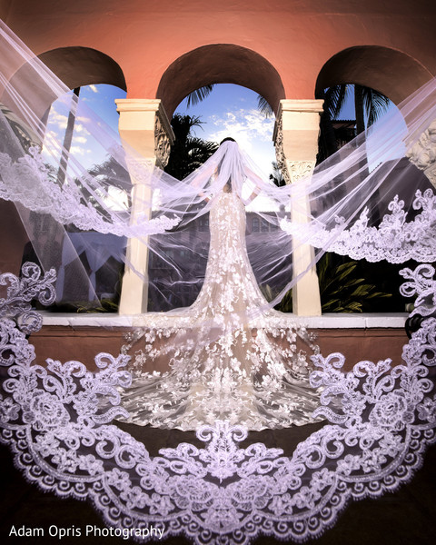 Stunning maharani with her white veil capture.