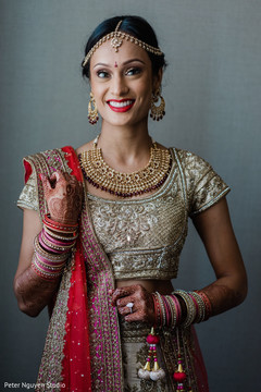 Magnificent Indian bride on her ceremony outfit...
