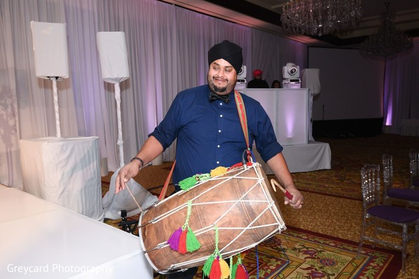 Dhol player at the reception