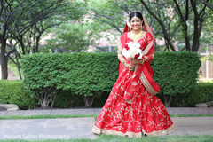 Adorable Indian bride on her way to meet groom.