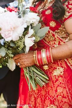 Closeup capture of Indian bride's ceremony bangles.