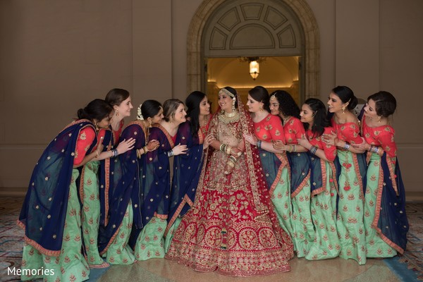Maharani and bridesmaids posing for pictures