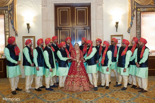 Maharani posing with groomsmen
