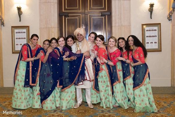 Indian groom posing with Maharanis