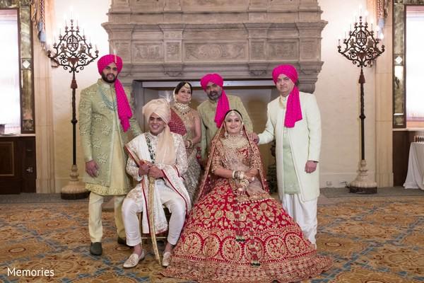Maharani and Raja posing with family