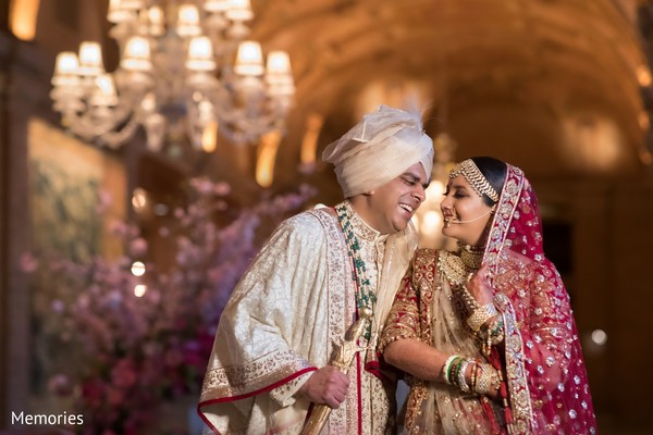 Indian bride and groom having a fun moment